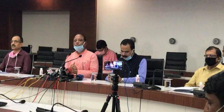 Parimal Suklabaidya (centre) addressing the media