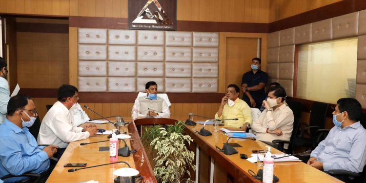 Assam Chief Minister Sarbananda Sonowal in a review meeting with ASDMA officials