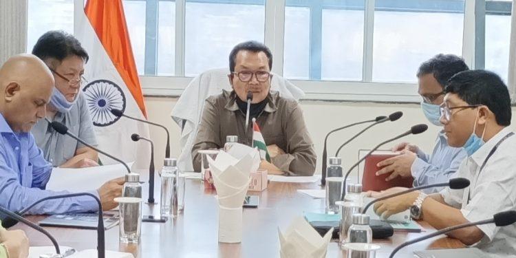 Arunachal Pradesh Deputy CM Chowna Mein during a meeting in Itanagar on Wednesday. Image: Northeast Now