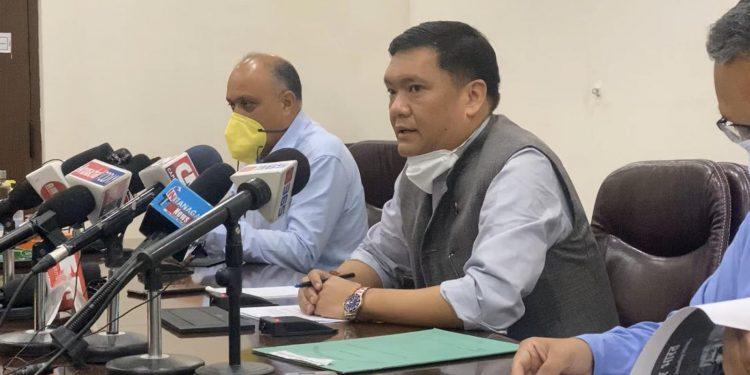 Arunachal CM Pema Khandu addressing the press conference on Thursday. Image: Northeast Now