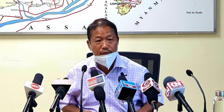 Arunachal Pradesh home minister Bamang Felix while addressing the media on Saturday. Image: Northeast Now