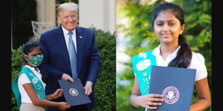 Sravya Annappareddy, a 10-year-old Indian-American Girl Scout has been honored by US President Donald Trump. Image credit: India Today
