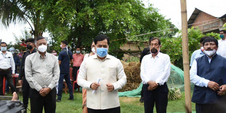 Assam Chief Minisrer Sarbananda Sonowal addressing the media