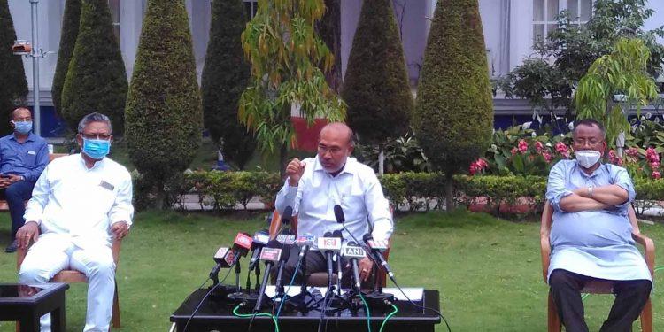 Manipur CM N Biren Singh addressing the media in Imphal on Friday. Image: Northeast Now