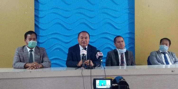 Mizoram CLP leader Zodintluanga Ralte addressing the media in Aizawl
