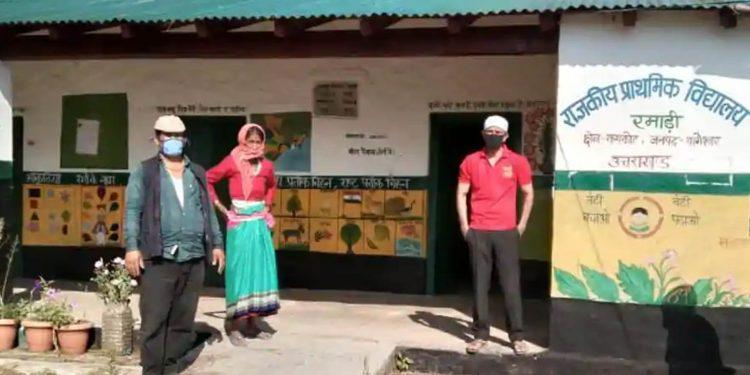 Prakash Singh Karki is seen with his mother in the quarantine centre in Ramadi village of Uttarakhand's Bageshwar district.