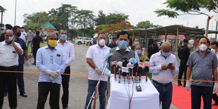 Assam CM Sarbananda Sonowal in Kokrajhar on Wednesday. Image: Northeast Now