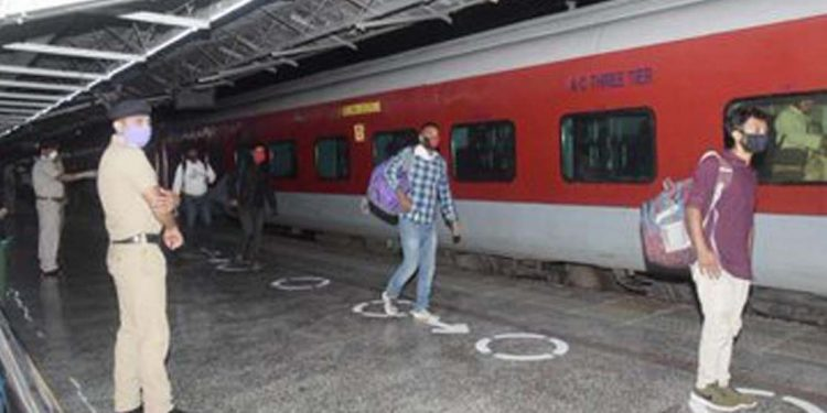 Stranded people in train