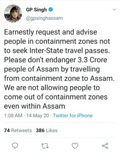 Assam Police bans travel from containment zones 1