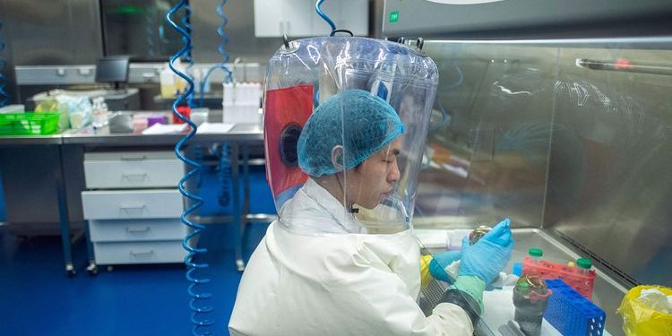 A worker inside the P4 laboratory in Wuhan, capital of China's Hubei province.