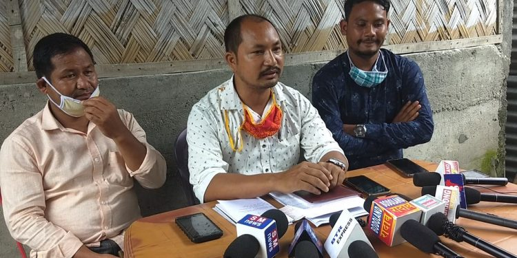 RTI activist and central working committee (CWC) member of the UPPL, Saimol Dwimari (middle) addressing a press conference at Tangla town in Udalguri district on June 29, 2020. Image: Northeast Now