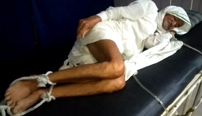 The man's family members alleged that the hospital administration tied his legs and hands to bed after he failed to pay Rs 11,000.