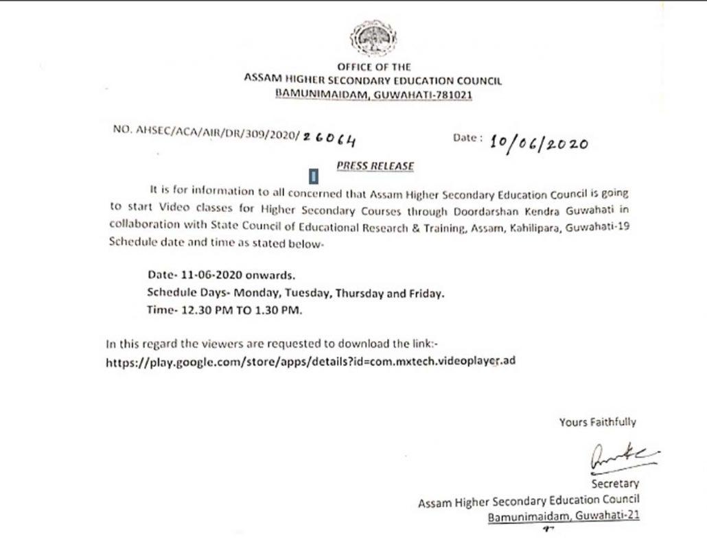 AHSEC to start video classes through Doordarshan Kendra Guwahati from June 11 4