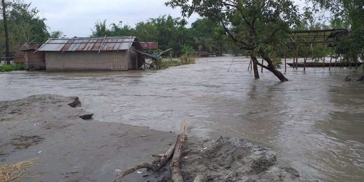 Over 90,000 people of 215 villages have been affected in the flash flood in the district so far.