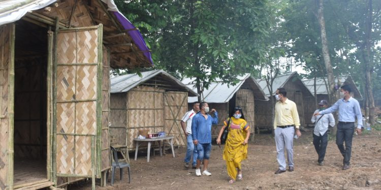 Dimapur deputy commissioner Anoop Khinchi (third from right) visitng the home quarintine huts at Diphupar in Dimapur on June 11, 2020. Image: Northeast Now