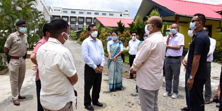 Manipur CM N Biren Singh visits the newly opened COVID Care Centre at UNACCO School premises at Meitram.