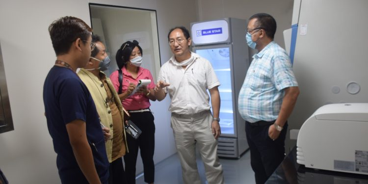 Nagaland health and family welfare minister S. Pangnyu Phom (extreme right) being briefed about the BSL-2 lab at CIHSR in Dimapur on Monday.