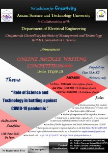 GIMT Guwahati initiates online article writing competition on COVID19 1