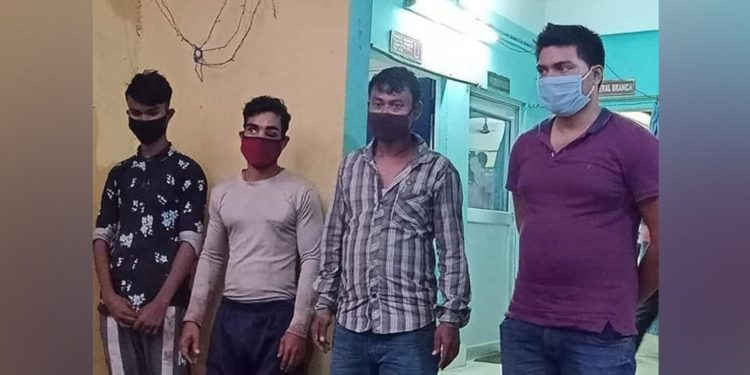 Four of the five accused in the Rituparna Pegu murder case in police custody. Image: Northeast Now
