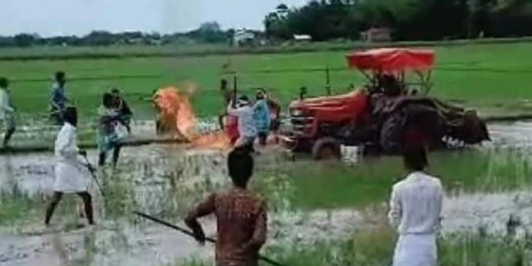 Video of the incident showing the woman's body catching fire in Hojai. Image credit: India Today