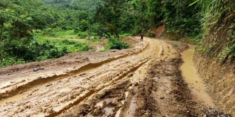COVID-19 patients had to walk 8 kilometres due to deplorable condition of roads in Manipur. Image credit: Imphal Free Press