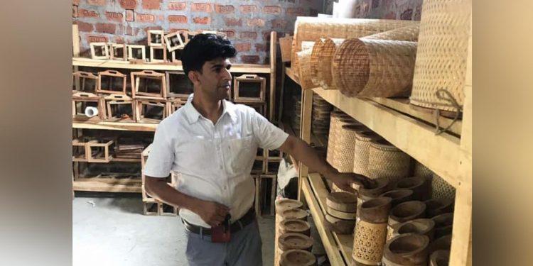 Kraftinn MD Parikshit Borkotoky in the manufacturing unit. Image: Northeast Now