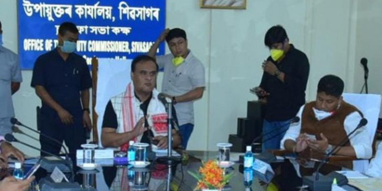 Assam health minister Himanta Biswa Sarma interacting with the doctors and health workers Sivasagar civil hospital