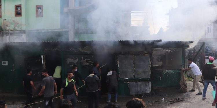 Shops gutted in Tawang on Wednesday. Image: Northeast Now