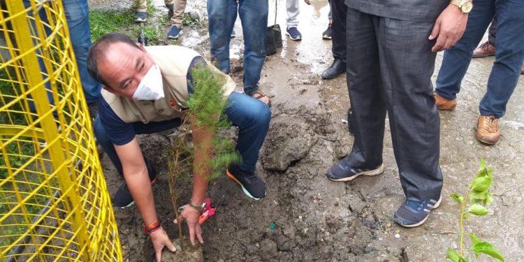 Arunachal Pradesh sports minister Mama Natung while launhing the Seppa beautification project