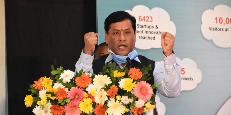 Assam CM Sarbananda Sonowal speaking at Udyam Assam in Guwahati on Sunday