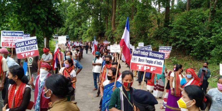 TPF on Monday blocked the highway demanding transfer of TTAADC administration to Pradyot Deb Barman