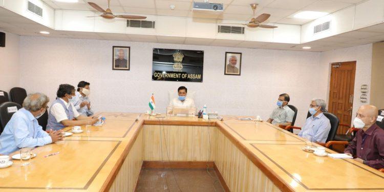 Assam CM Sarbananda Sonowal with a team os senior scientists