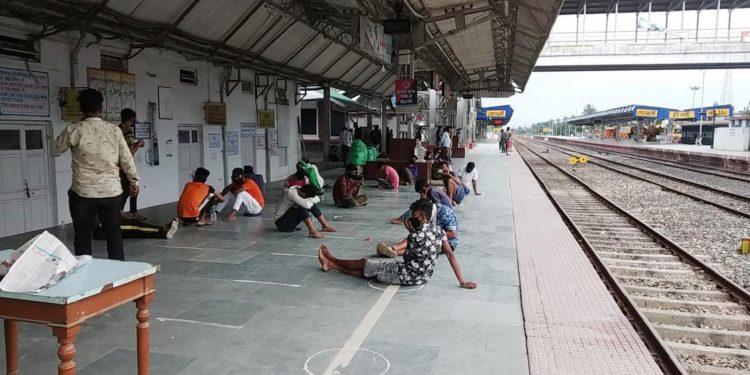 The returnees at Hojai railway station. Image: Northeast Now