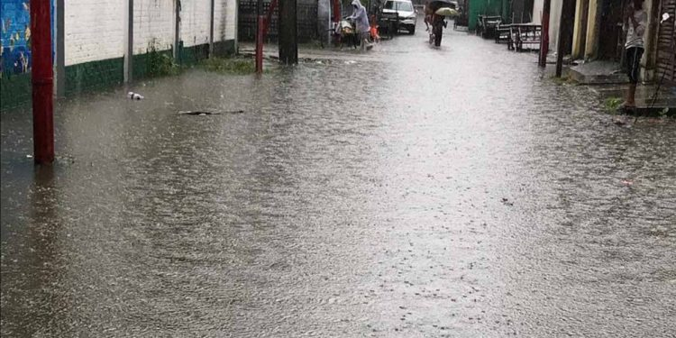 A flooded street of Dibrugarh. Image: Northeast Now