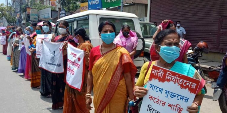 Female workers of CPI (M) protesting against the rise of crime against women in Tripura. Image: Northeast Now