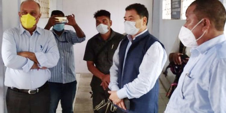 Arunachal Pradesh health minister Alo Libang with other officials in Roing on Thursday