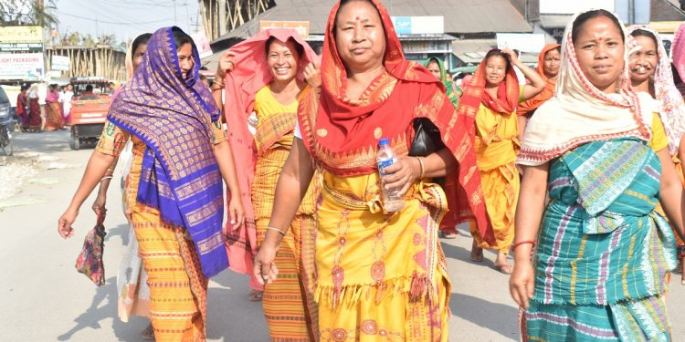 Jubilant people participating in an election campaign rally at Udalguri on June 18, 2020. Image: Northeast Now