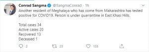 Meghalaya records one more COVID-19 case; total mounts to 34 3