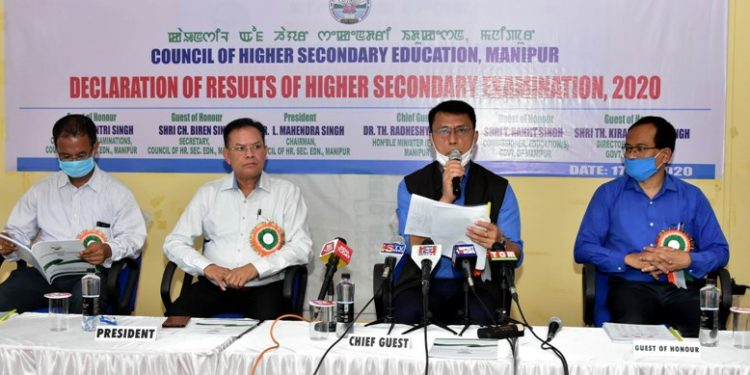 Manipur education minister Dr Thokchom Radheshyam Singh and officials of education department COHSEM declared the results.