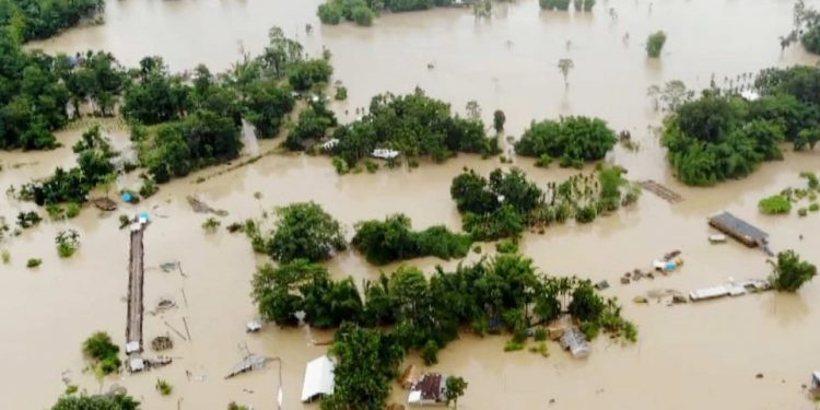 An aerial view of flood affected Jonai area.