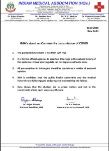 Indian Medical Association rejects reports on community transmission of COVID19 4