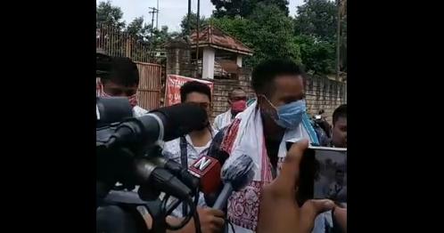 Mans Konowar speaks to reporters outside Guwahati Central Jail.