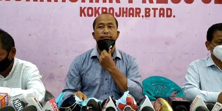 Chief convenor of the PJACBM Garjan Mashahary addressing the media in Kokrajhar on July 7, 2020. Image: Northeast Now