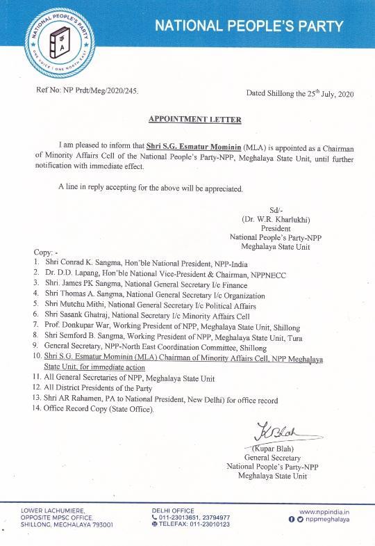 Phulbari MLA Mominin appointed as Meghalaya NPP's minority cell chairman 4