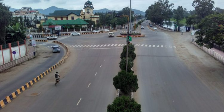 File image of deserted streets of Imphal taken during lockdown. Image: Northeast Now