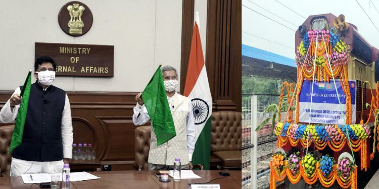 The Union Minister for External Affairs, Dr. Subrahmanyam Jaishankar and the Union Minister for Railways and Commerce & Industry, Shri Piyush Goyal virtually handing over 10 Broad Gauge Locomotives to Bangladesh, at a ceremony, in New Delhi on July 27, 2020. Handout image