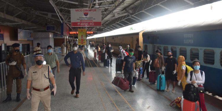 Returnees in Dimapur railway station