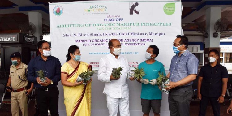 Manipur CM N Biren Singh while flagging off a shipment of organic pineapples. Image credit: Twitter