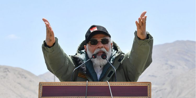 PM Narendra Modi addressing the Indian troops, during his visit to Nimu in Ladakh on Friday