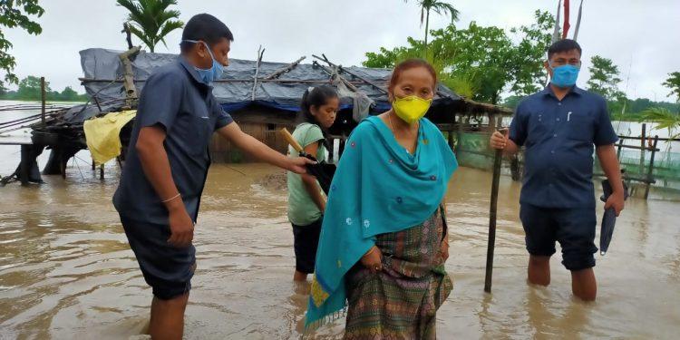 Assam social welfare minister Pramila Rani Brahma visited flood-hit area of Kokrajhar. Image: Northeast Now